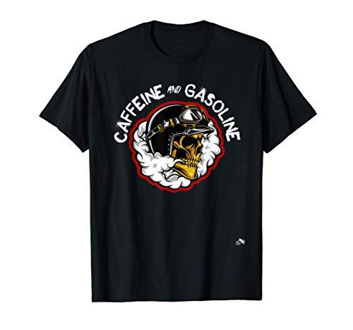 Caffeine and Gasoline - Skull Helmet & Smoke T-Shirt
