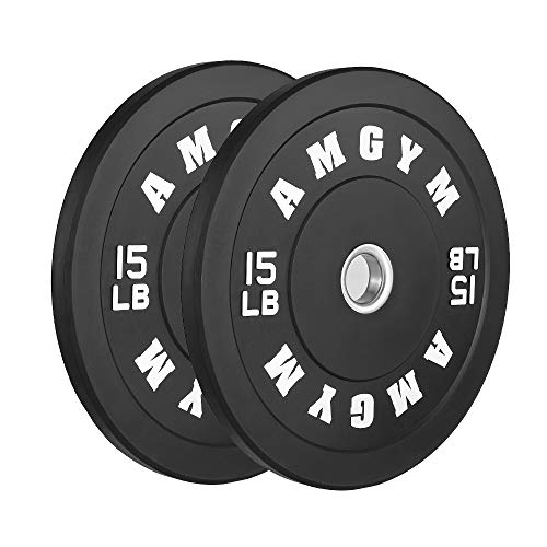 AMGYM LB Bumper Plates Oplympic Weight Plates, Bumper Weight Plates,...