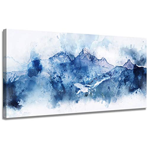 Large Abstract Canvas Wall Art Living Room Office Wall Art Abstract Mountain Landscape on White Background Blue Shadow Digital Watercolor Painting 24x36 inch Frame Art Ready to Hang
