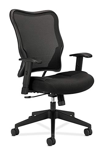 HON Wave Mesh High-Back Task Chair, with Height-Adjustable Arms, in Black (HVL702)