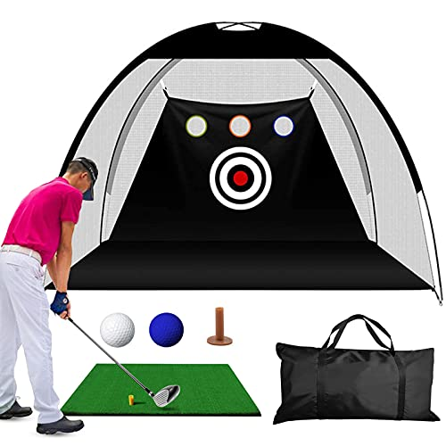 Aogbra Golf Practice Net, 10ft X 7ft Golf Hitting Training Aids Nets with Target for Backyard Driving Chipping