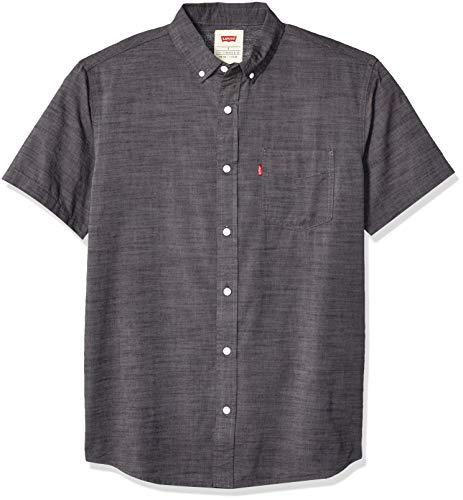 Levi's Men's Short Sleeve, Classic FIT, Woven Shirt, Caviar/Brato Solid, X Large