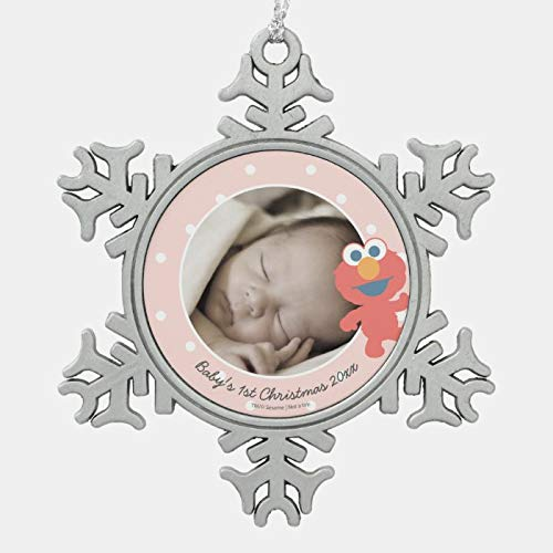 JamirtyRoy1 Christmas Ornament, Elmo Baby's First Christmas - Add Your Name Snowflake Pewter Christmas Ornament, Xmas Tree Hanging Decorations, Home Decor, Keepsake Gift, 3 Inch Snowflake Ornament