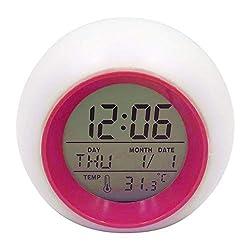 Little lemon Round Alarm Clock 7 Colorful Change Children Study Calendar Thermometer Ball Alarm Clock Multifunction Snooze Table Clock,Rose Red