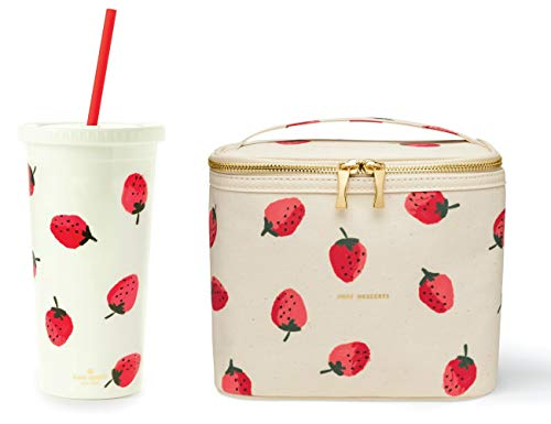 Kate Spade New York Insulated Lunch Bag and 20 Ounce Double Wall Tumbler, Cute Lunch Tote with Gold Zippers and Handle, Travel Cup with Red Reusable Straw/Leak Resistant Lid, Strawberries