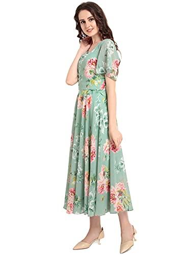 Rare Women's Georgette A-Line Midi Dress (EP3153_B_Green_M)