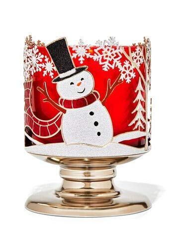 Bath and Body Works Joyful Snowman Pedestal 3 Wick Candle Holder.