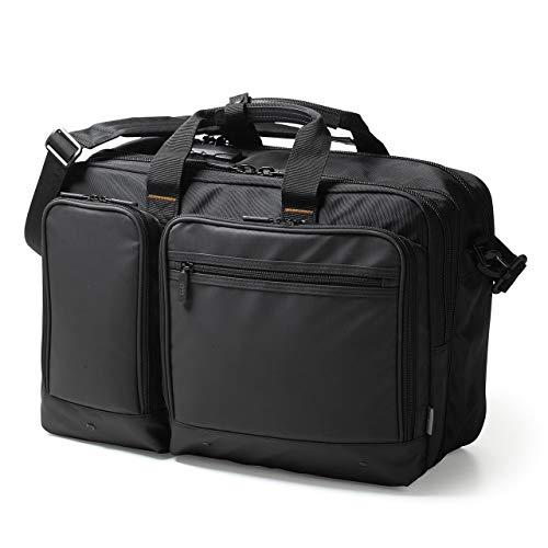 サンワダイレクト 3WAYビジネスバッグ 大容量 15.6型PC A4収納 多ポケット 鍵付 マチ拡張 28.3L 200-BAG171BK