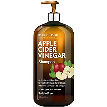 MAJESTIC PURE Apple Cider Vinegar Shampoo - Restores Shine & Reduces Itchy Scalp Dandruff & Frizz - Sulfate Free for All Hair Types Men and Women - 16 fl oz