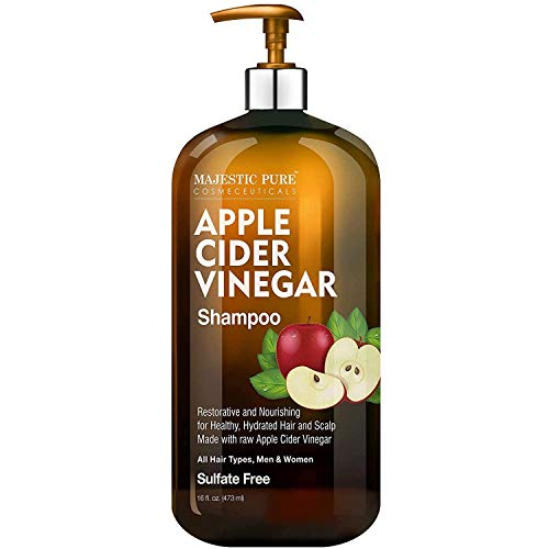 MAJESTIC PURE Apple Cider Vinegar Shampoo - Restores Shine & Reduces Itchy Scalp, Dandruff & Frizz - Sulfate Free, for All Hair Types, Men and Women - 16 fl oz