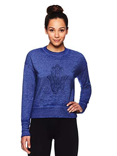 Gaiam Women's Pullover Fleece Yoga Sweatshirt - Long Sleeve Graphic Activewear Sweater - Medieval Blue, Small