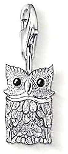 Thomas Sabo Damen-Charm-Anhänger Eule Charm Club 925 Sterling Silber schwarz 0792-007-12
