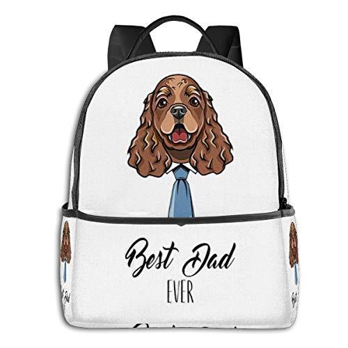Best American Water Spaniel Dog Dad Ever Side Themed Casual Shoulders Backpack Travel Mini Bookbag Book Back School Bag For Girls Boy Women Men Merchandise