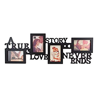 kieragrace Collage Picture Frame, 10 by 30 Inch Holds 4- 4 by 6 Inch Photos, Black, True Love