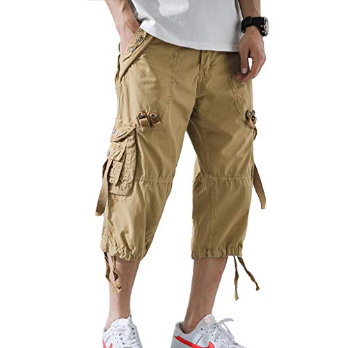 AOYOG Men's Cargo Shorts 3/4 Relaxed Fit Below Knee Capri Cargo Pants Cotton Khaki