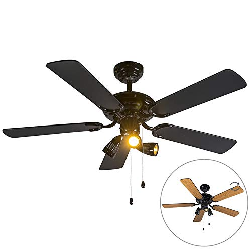 QAZQA - Deckenventilator mit beleuchtung schwarz - Mistral 42 | Wohnzimmer | Schlafzimmer | Küche - Stahl Rund - LED geeignet GU10