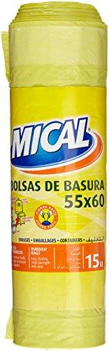 Mical - Bolsas de basura - 55x60 , color amarillo - 15 unidades - [Pack de 7]