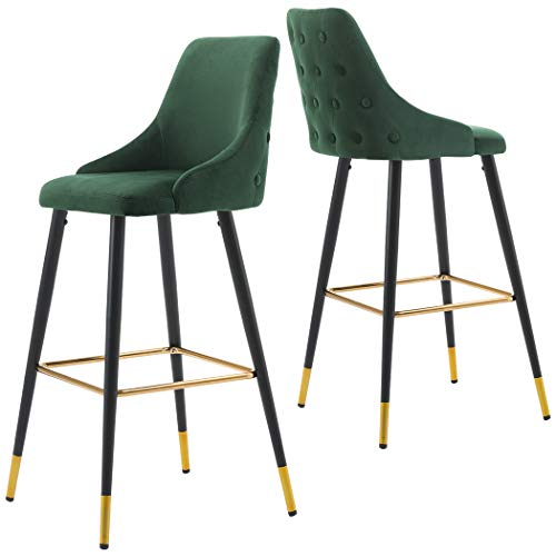 2X Barhocker Barstuhl aus Stoff Samt Gestell aus Metall Tresenhocker Bar Sessel gut gepolstert mit Lehne Farbauswahl Duhome 5170G, Farbe:Dunkelgrün, Material:Samt