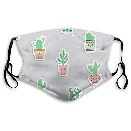 Cute Cacti And Succulents Washable Reusable 5-layer Activated Carbon Face (adult And Child Size),S