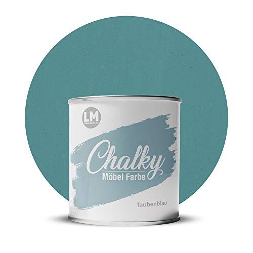 LM-Kreativ Chalky Möbelfarbe deckend 750 ml (Taubenblau), matt finish In- & Outdoor Kreide-Farbe für Shabby-Chic, Vintage, Landhaus Stil