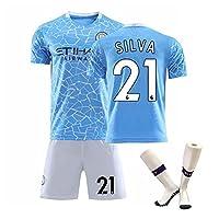 サッカー ユニフォーム大人子供用No.21 シルバ 2021年マンチェスターシティのホームサッカーユニフォーム(靴下付き)スーツユニフスポーツスーツTシャツ+ショーツ高弾性快適通気性サッカーウェア (Color : Blue, Size : 28)