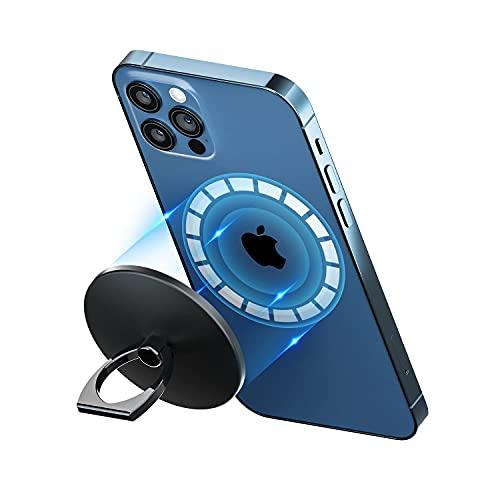 enGMOLPHY マグネット式フィンガーリングホルダー, iPhone 12シリーズMagSafe対応マグネットリングスタンド,180度 360度回転式 アルミ合金マグセーフ対応ホールドリングスタンド,強力磁力吸着 安定感, iPhone 12/12 Pro/12 Pro Max/12Miniに対応アクセサリー(ブラック)