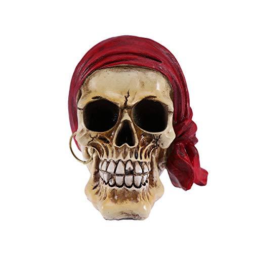Amosfun - Cráneo de resina, diseño de calavera de Halloween, decoración para fiestas, bar, decoración de interiores (pañuelo rojo para la cabeza)