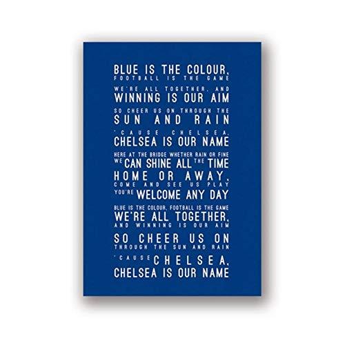MULMF Wohnkultur Leinwand Chelsea FC Inspiriert Song Lyrics HD Drucke Modulare Gemälde Moderne Bilder Kunstwerk Wandkunst Poster-50x70 cm kein Rahmen
