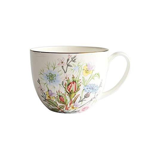 mglxzxxzc Taza De Café De Porcelana De Hueso Europea Cerámica Creativa Rosa Pájaro Flor Patrón Taza De Leche Taza De Té Taza De Desayuno-C