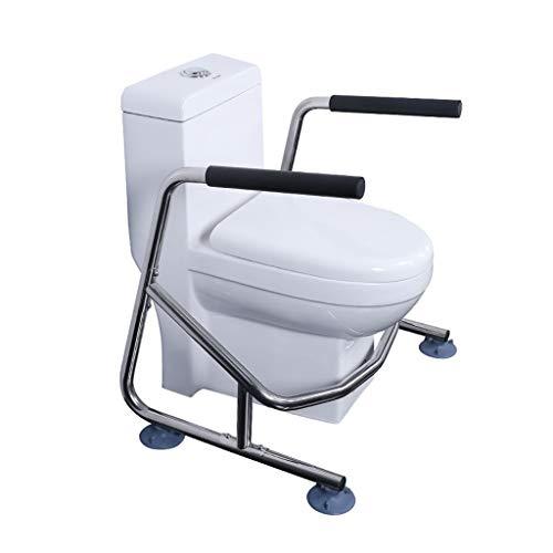 Wc Stützhilfe Ältere Schwangere Frauen Toilette Booster Frame Sicherheit rutschfeste Toilette Badezimmer Edelstahl Free Punch WC Handlauf (Color : Silver, Size : 69 * 56 * 68.5cm)