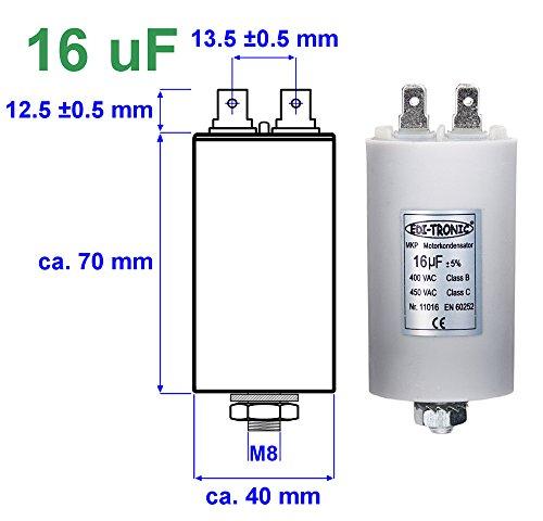 NoMo Longlive Industrie Kondensator mit Kabel 16/µF