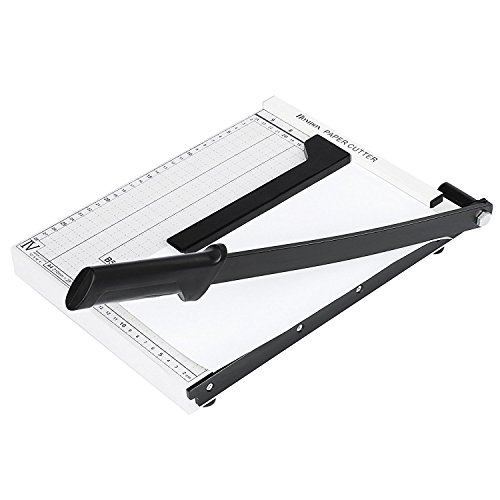 Homdox Paper Trimmer A3 A4 Guillotine Paper Cutter Scrap Machine 10-Sheet Capacity for Home/Office (12 x 8inch, White)