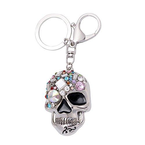 quanjucheer Kreativer Totenkopf-Schlüsselanhänger, modisch, für Damen, Taschen-Ornamente, Auto-Schlüsselanhänger, Geschenk silber