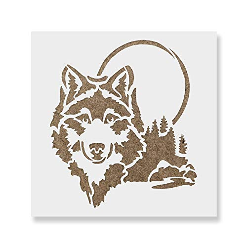 Wolf Head Stencil Template for Walls and Crafts - Reusable Stencils for Painting in Small & Large Sizes