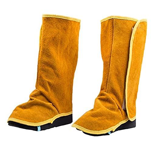 Gaiters de soldadura Cubiertas de cuero de cuero de vaca para uso pesado cubiertas de soldadura resistentes a la llama Spats 1PAIR, zapatos de seguridad