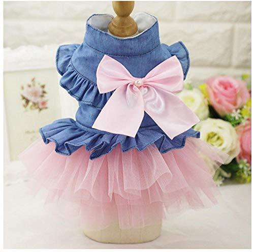 MUXIAND Huisdier hond jurk lente zomer katoen gaas jurk trouwjurk in denim rok huisdier kat Zomer huisdier kleding, S