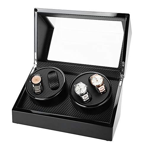 Automatische rotatie horlogewikkelaar opbergdoos voor uurwerk en horloge, hout + PU leer en zachte fluwelen voering, krasbestendig, 4 grids zwart.