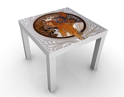 Apalis Design Tisch Loren 55x55x45cm Beistelltisch Couchtisch Motiv-Tisch Wohnzimmer, Tischfarbe:Weiss;Größe:55 x 55 x 45cm