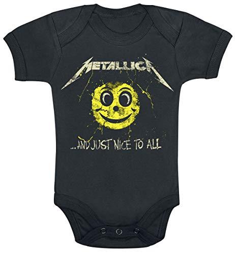 Metallica and Just Nice To All Babygrow Unisex Body Negro 86/92, 100% algodón,
