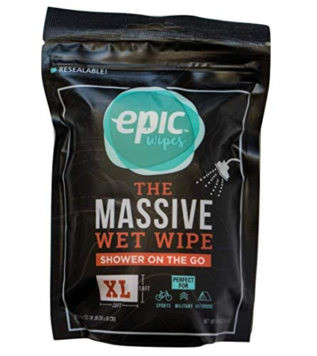 Encore, LLC Epic Wipes, 10-Pack Massive Wet Wipes, Biodegradable Residue-Free Shower Substitute, Big...