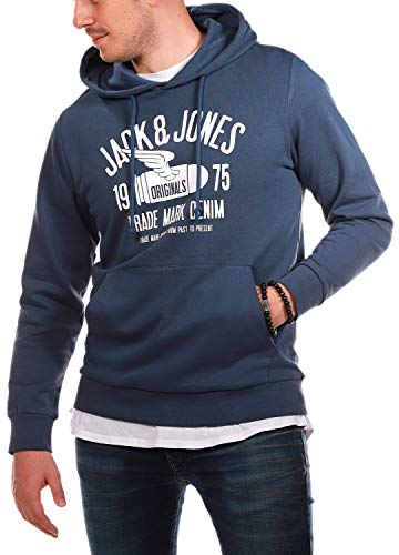 Jack and Jones Herren Hoodie Sweatshirt Rundhals Kapuzenpullover Print Sweat Hoody (Ensign Blue ( Blau ), 3XL)