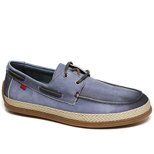 Marc Joseph New York - Zapato de lujo para hombre de piel con detalle de cuerda, Azul (Jeans Azul/Contraste Stitch), 44.5 EU