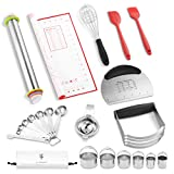 Soulhand 11 in 1 Baking Dough Tools & Pastry Cutter Utensils Set,Durable Baking Biscuit Cutter Set,Stainless Steel Pastry Scraper Dough Blender Biscuit Cutter Set for Home Kitchen