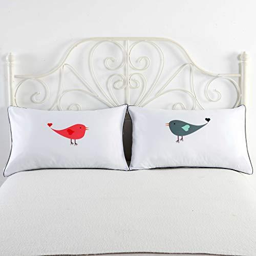 ZIRAN Un par de Funda de Almohada Blanca de 48 * 74 cm para Pareja en Almohada, Cama para Pareja de Boda, cojín Decorativo para sofá para el hogar, poliéster