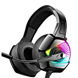 ONIKUMA Gaming Headset for PS4 with 7.1 Surround Sound & RGB LED Light,Xbox One Headset with Noise Canceling Microphone Compatible with PC/Mac/Nintendo Switch (Adapter Not Included)