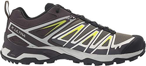 Salomon Men's X Ultra 3 Hiking Shoes, Burnt Olive/Shale/Acid Lime, 9.5