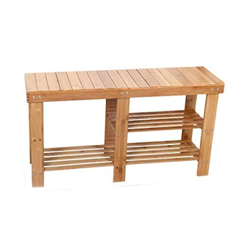 YLCJ Laarzen Schoenen Bench Houten frame Seat Dubbele kast Rest Woonkamer Balkon Corridor 88 cm * 27 cm * 45 cm (kleur: gestreept) Gestreept