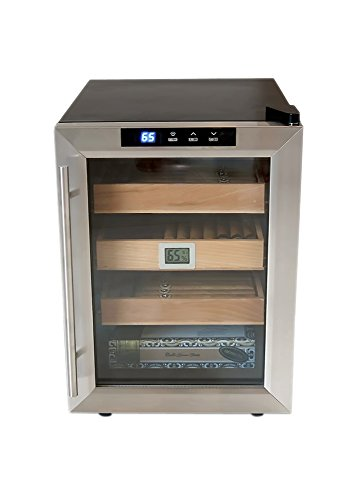 Prestige Import Group Clevelander Thermoelectric Cooler Humidor - Up to 250 Capacity - Color: Black w/Stainless Steel Door