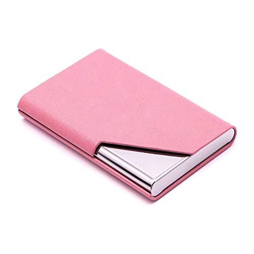 Business Name Card Holder, ID Credit Card Case Wallet Luxury PU Leather and Stainless Steel with Magnetic Shut, Pink