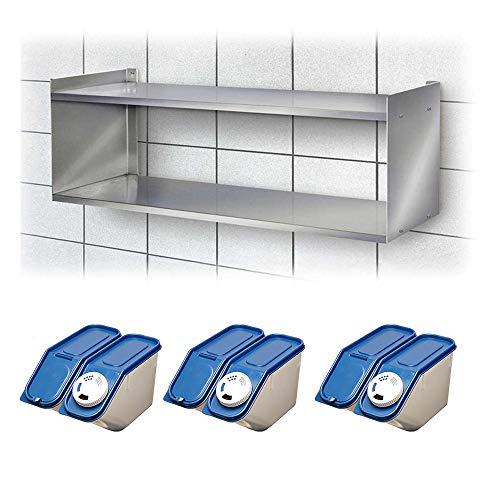 Wandregal aus Edelstahl, 2 Böden, BxTxH 700x250x360 mm + 3x Streudosen-Set
